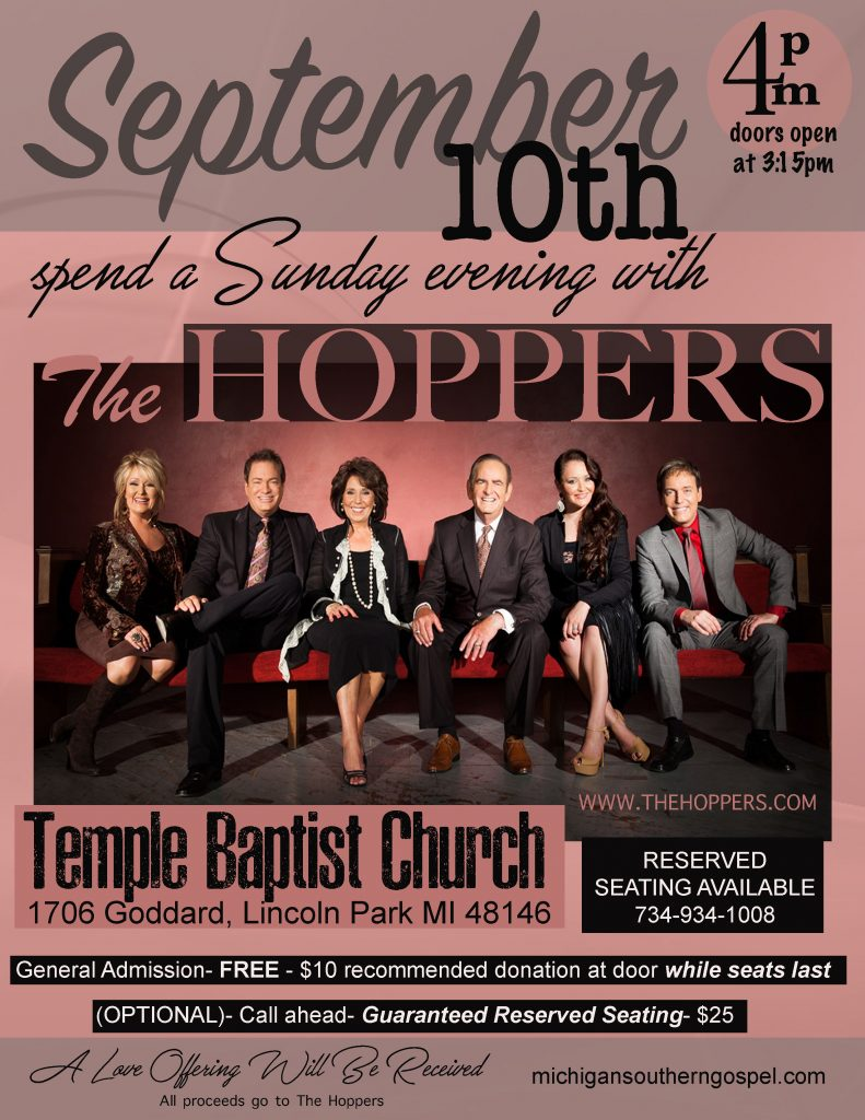 Lincoln Park, MI @ Temple Baptist Church - 734-934-1008 - 4:00pm