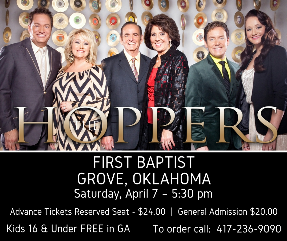Grove, OK @ First Baptist Church - 417-236-9090 - 5:30pm